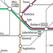 "Original ""Interstate Map"" version: detail of Hungary"