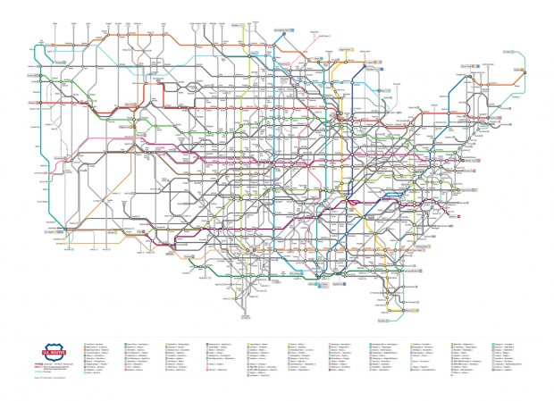 U.S. Routes as a Subway Map