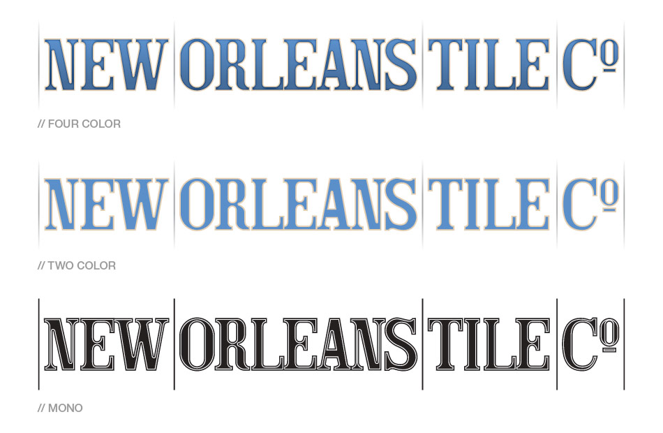 New Orleans Tile Co Identity Full Color Two And Black White Versions Of The Bespoke Logotype